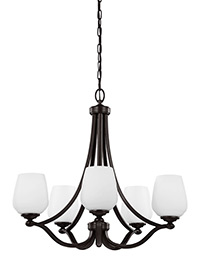 5 - Light Chandelier Heritage Bronze