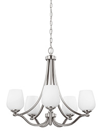 5 - Light Chandelier Satin Nickel