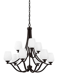 9 - Light Chandelier Heritage Bronze
