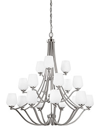 18 - Light Chandelier Satin Nickel
