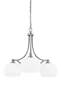 3 - Light Chandelier Satin Nickel