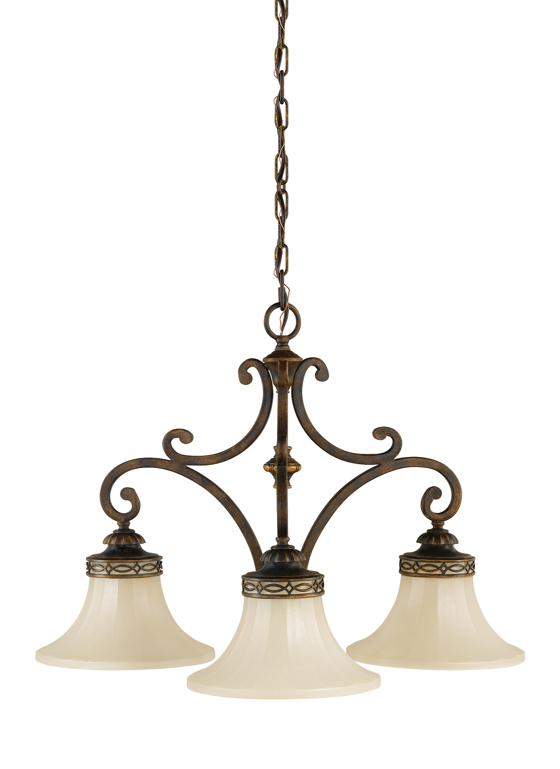 F22193WAL3 Light Kitchen ChandelierWalnut