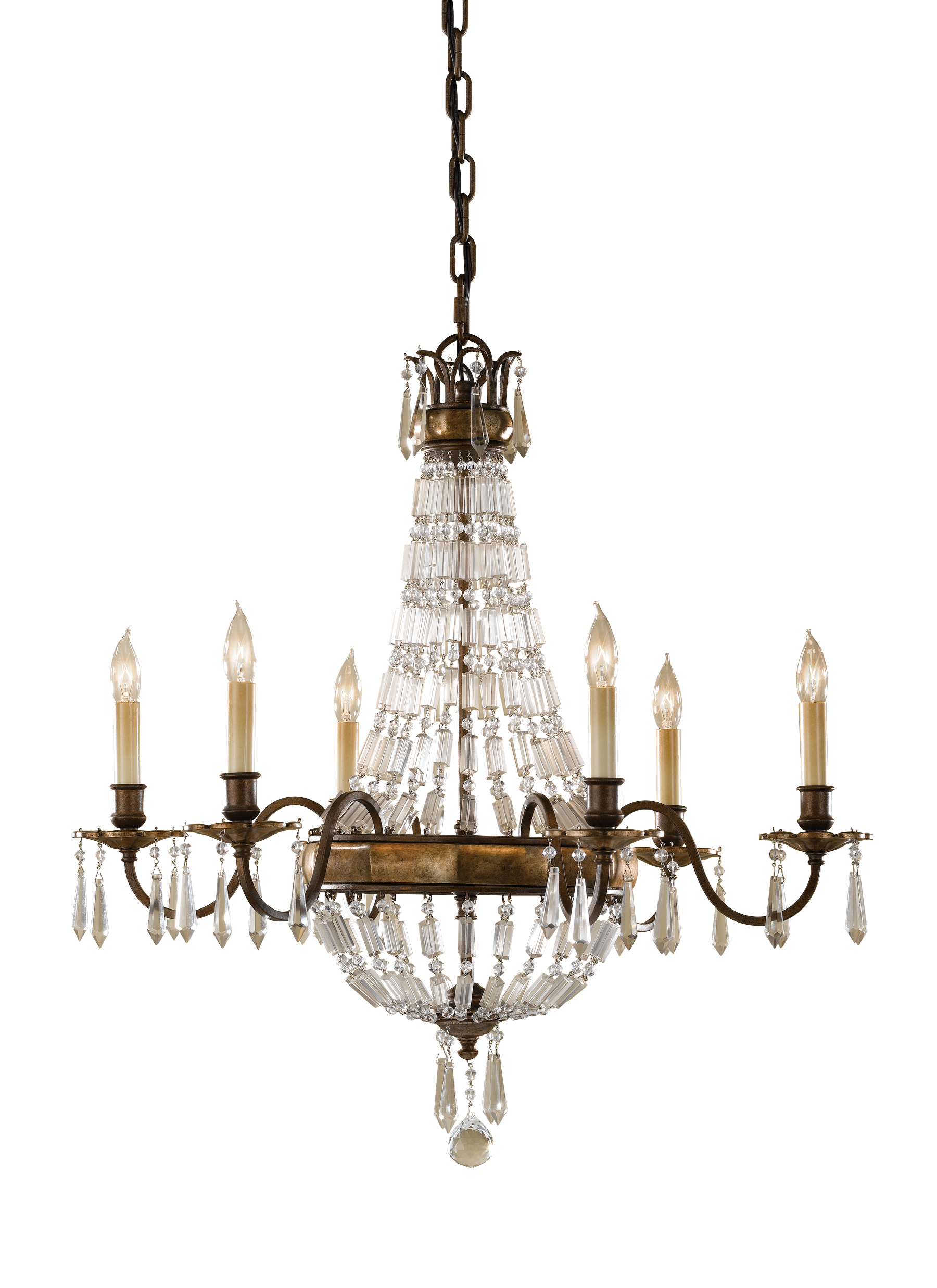 F2461 6OBZ BRB 6 Light Single Tier Chandelier Oxidized Bronze