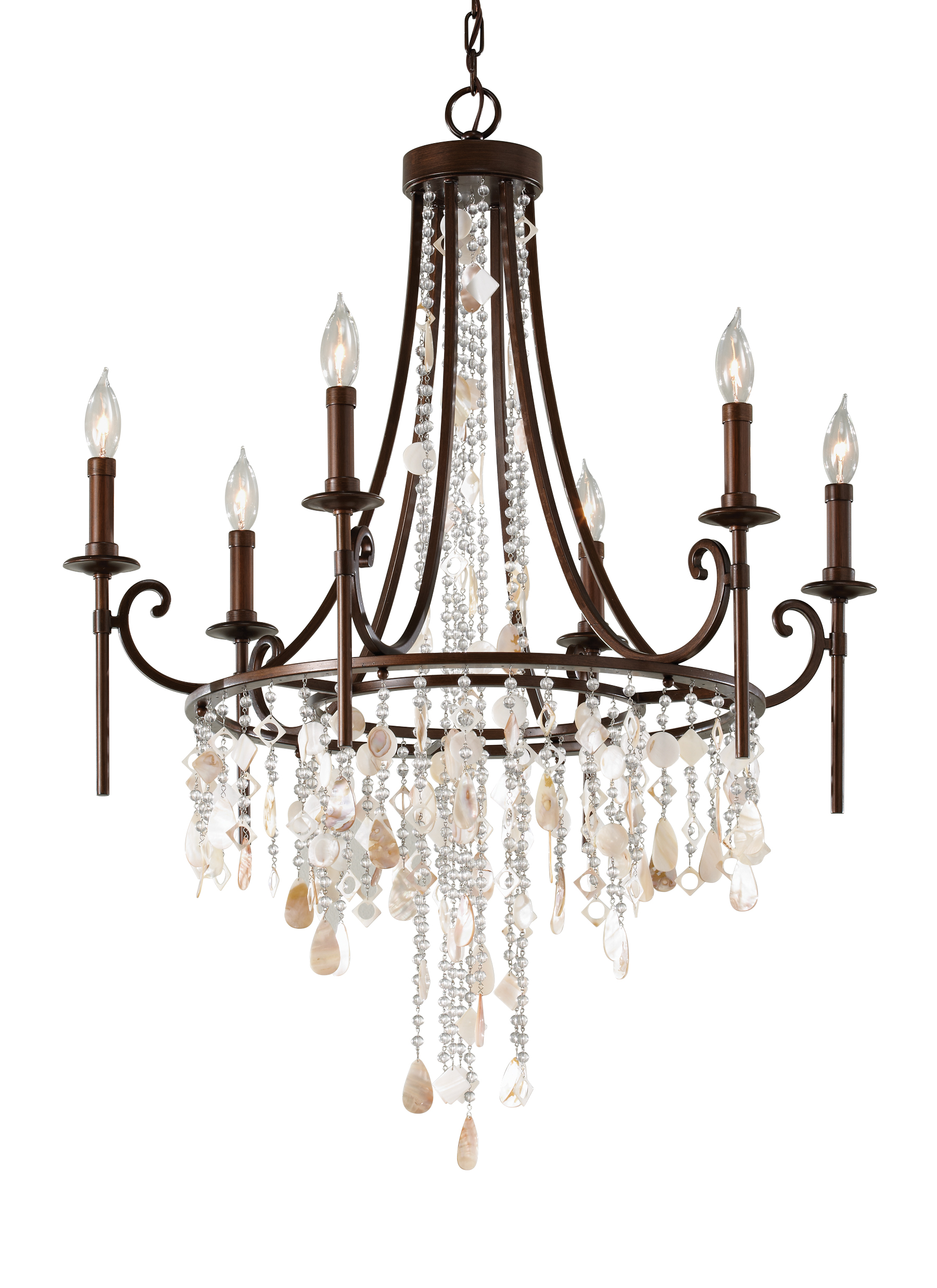 F2660 6HTBZ 6 Light Single Tier Chandelier Heritage Bronze