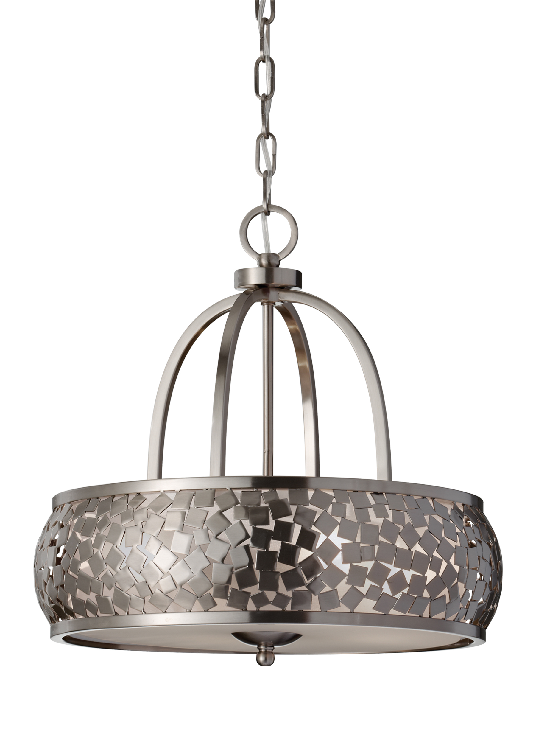 FBSLight Chandelier Brushed Steel - Brushed steel kitchen ceiling lights