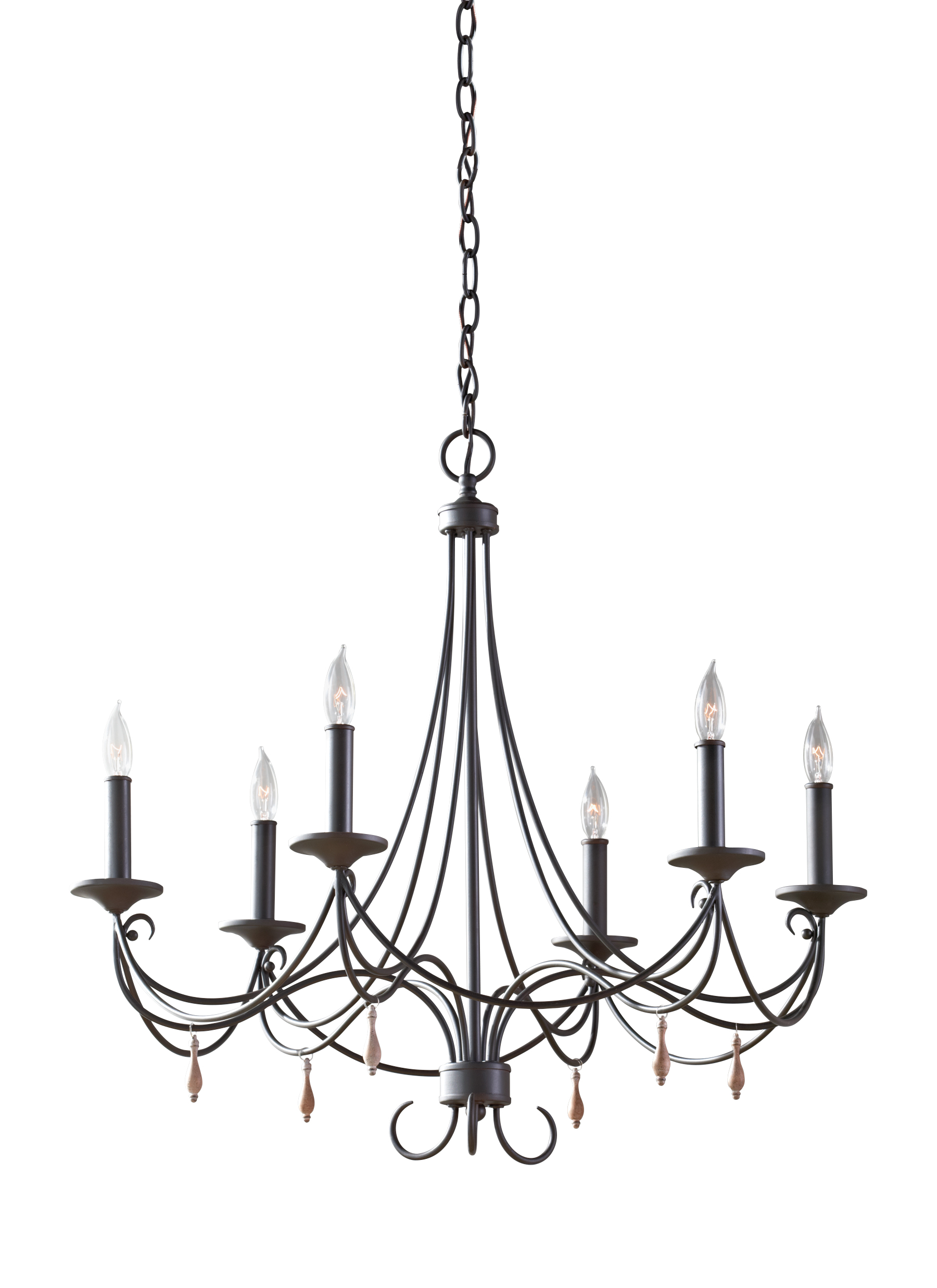F2746 6RI 6 Light Single Tier Chandelier Rustic Iron