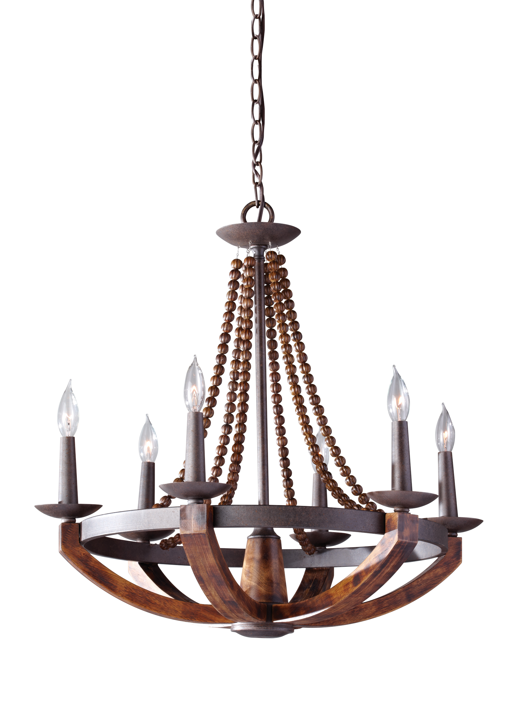 F2749 6RI BWD 6 Light Single Tier Chandelier Rustic Iron