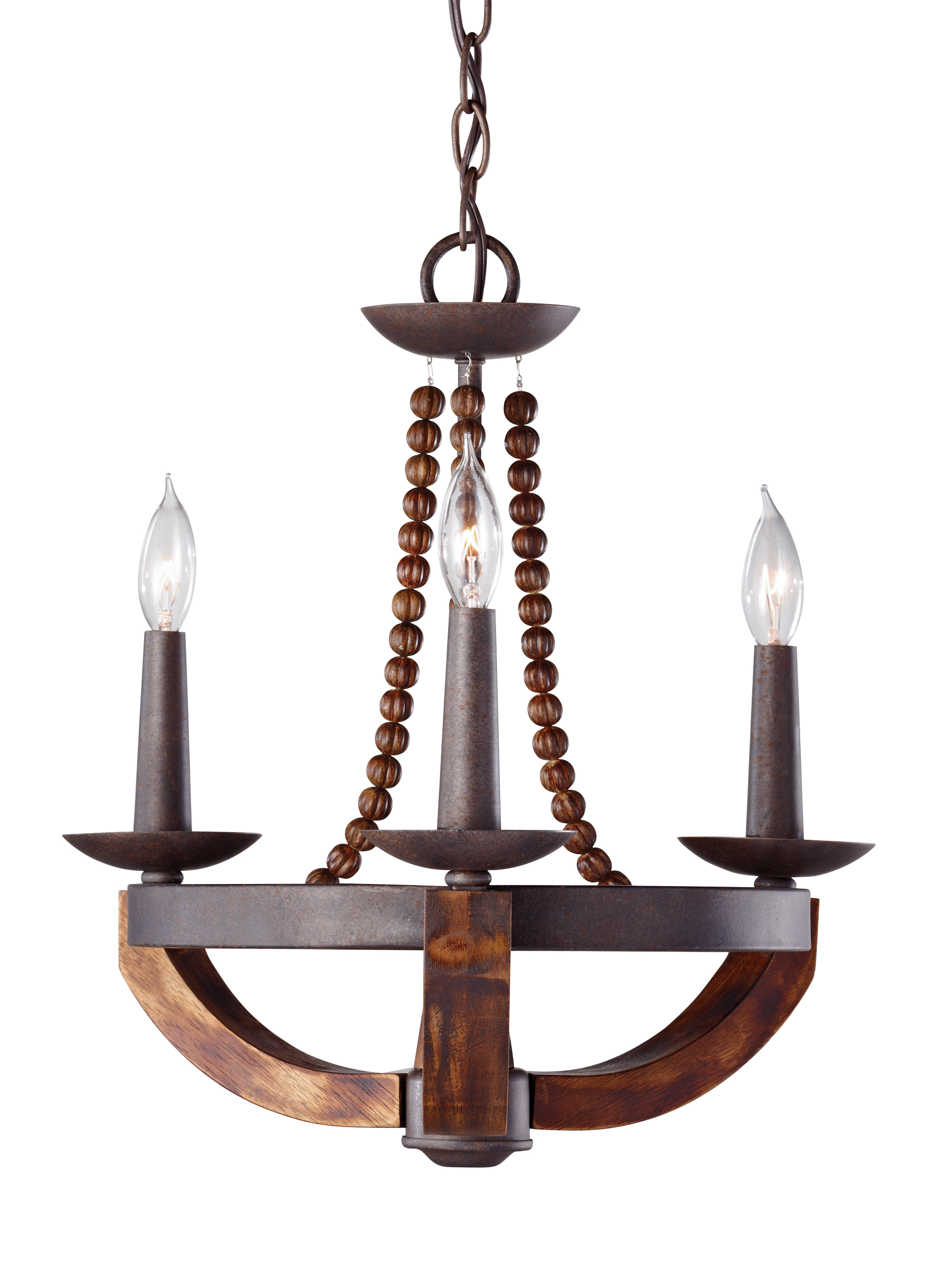 F2750 3RI BWD 3 Light Single Tier Chandelier Rustic Iron