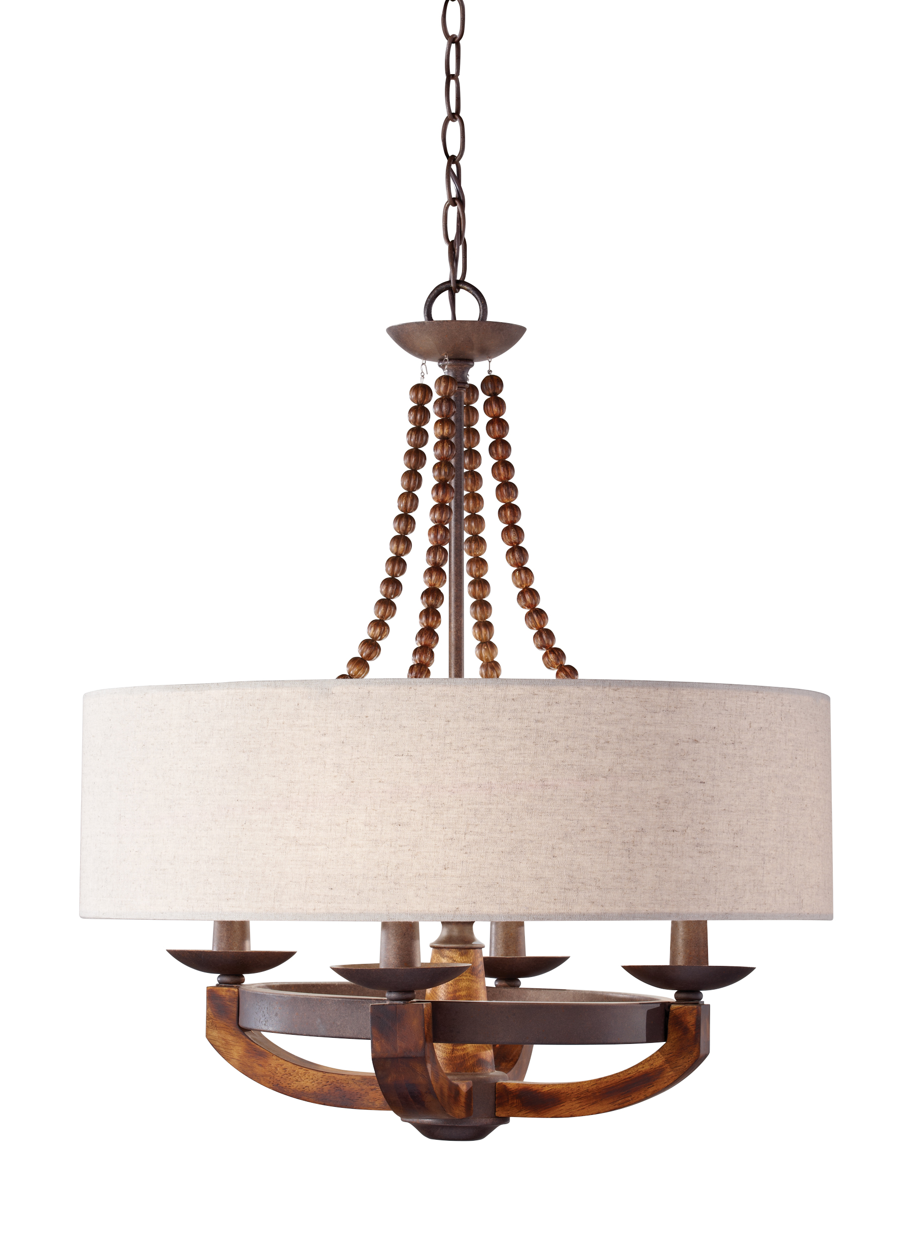 F2752 4RI BWD 4 Light Single Tier Chandelier Rustic Iron