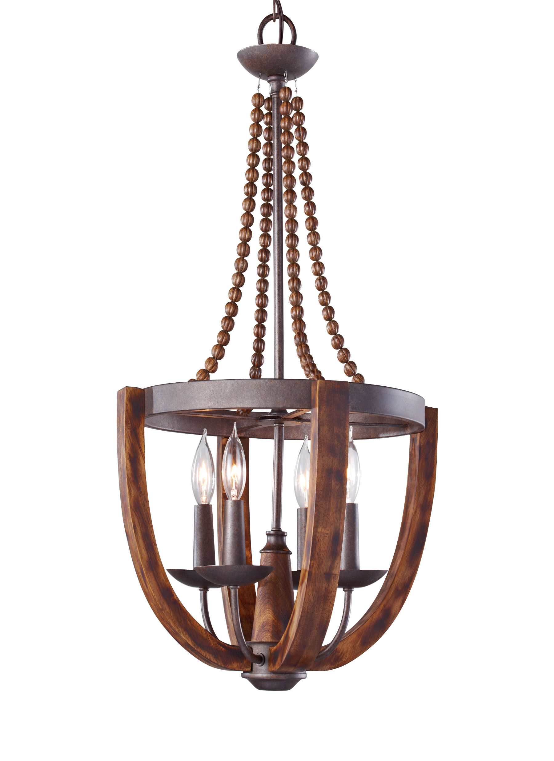 F2753 4RI BWD 4 Light Chandelier Rustic Iron Burnished Wood