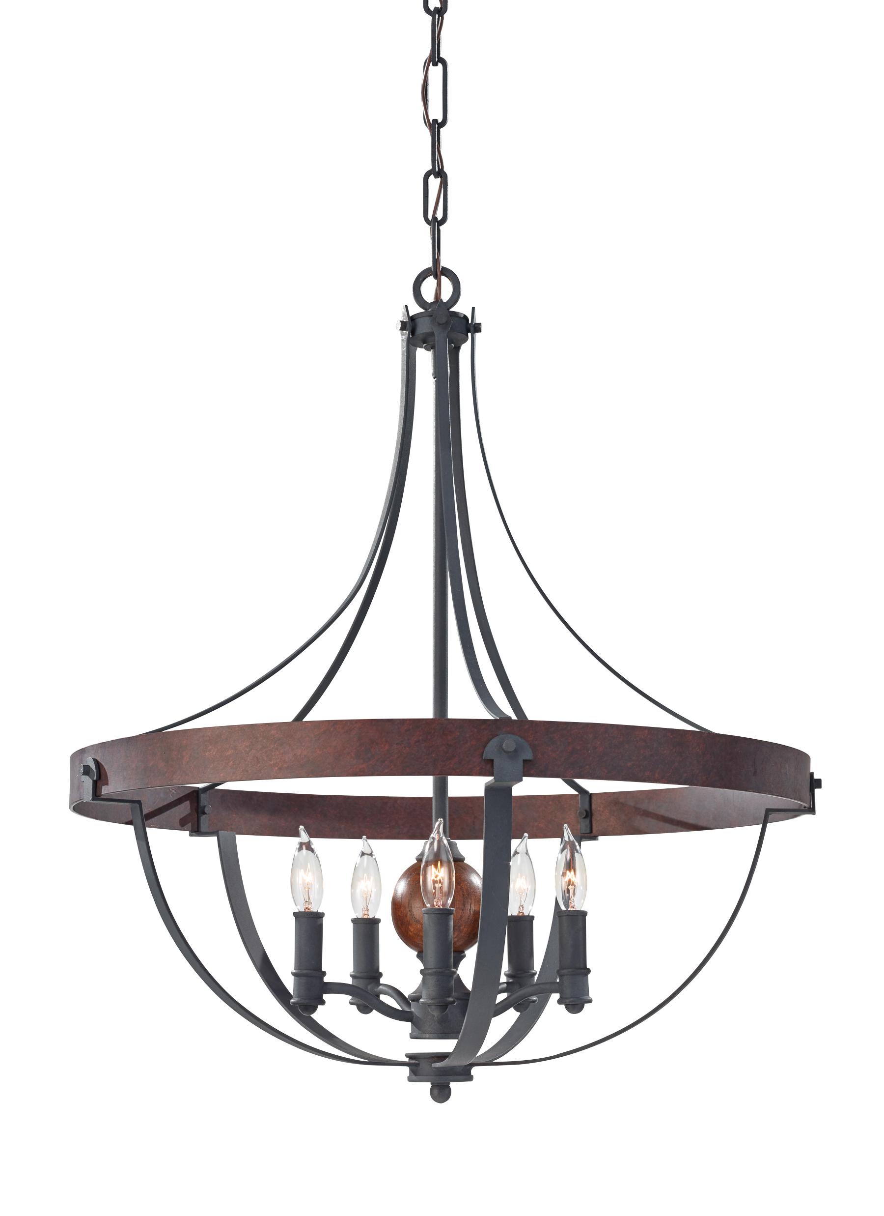 f2794 5af cba 5 light single tier chandelier af charcoal brick acorn