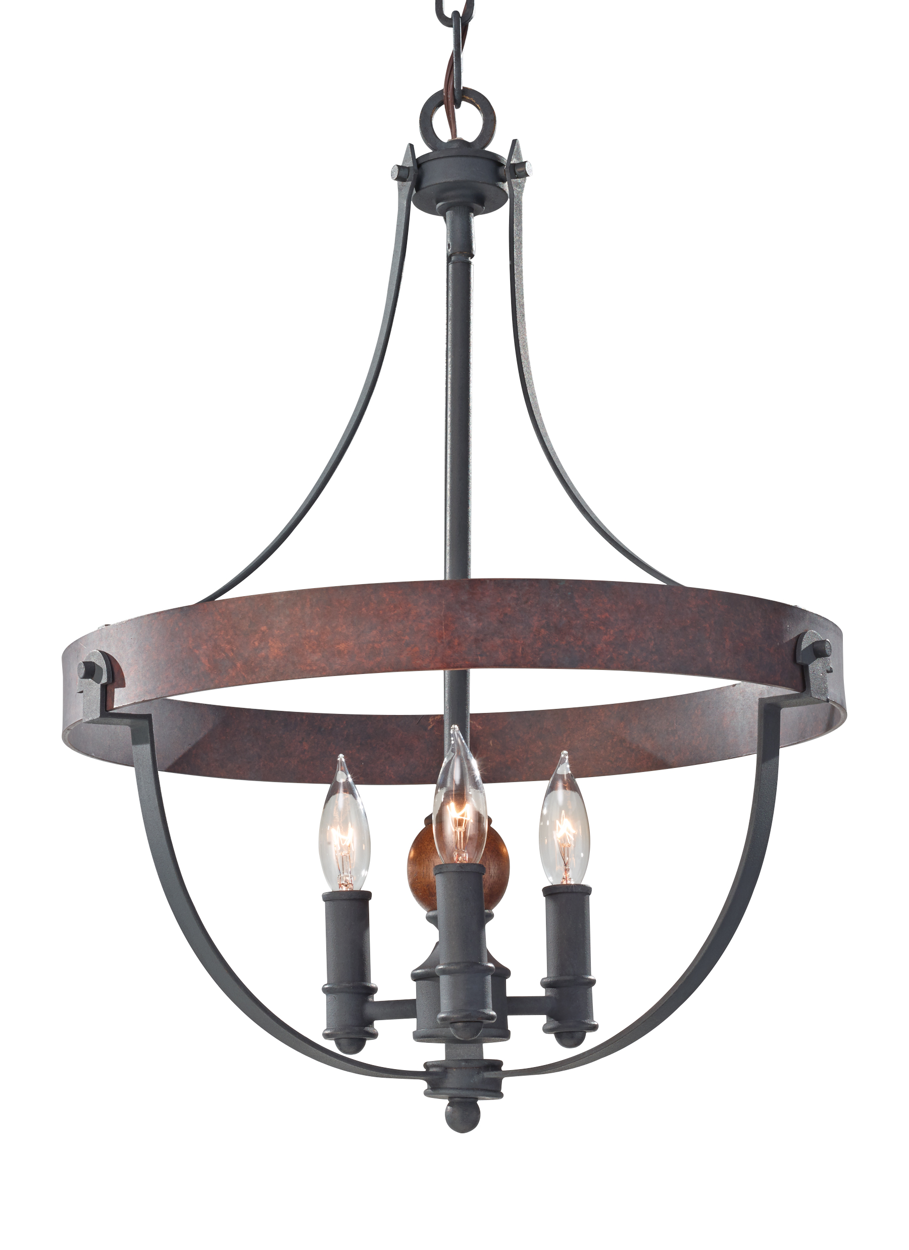 F2797 3AF CBA 3 Light Single Tier Chandelier AF CHARCOAL BRICK ACORN