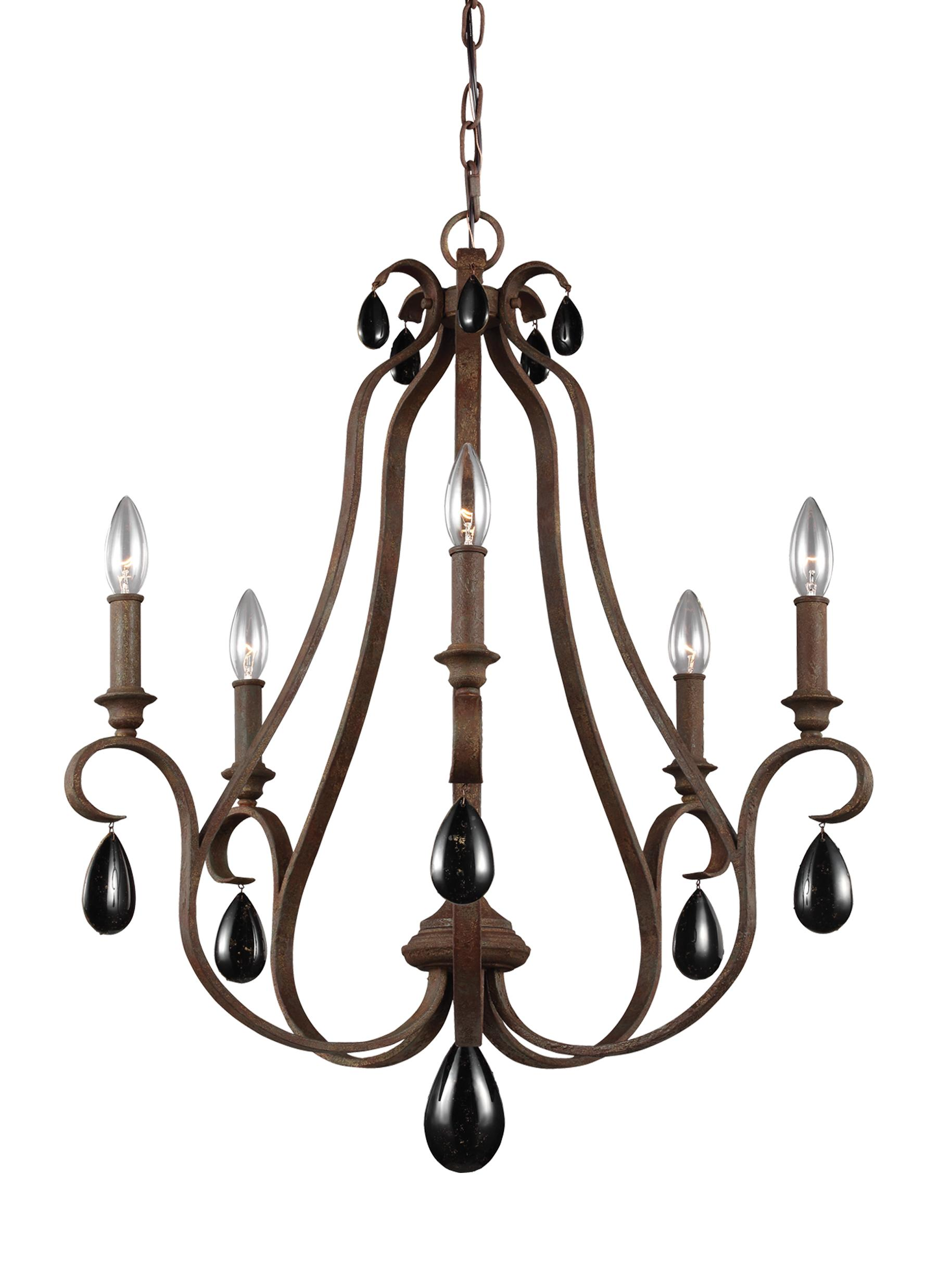 F3070 5WI 5 Light Chandelier Weathered Iron