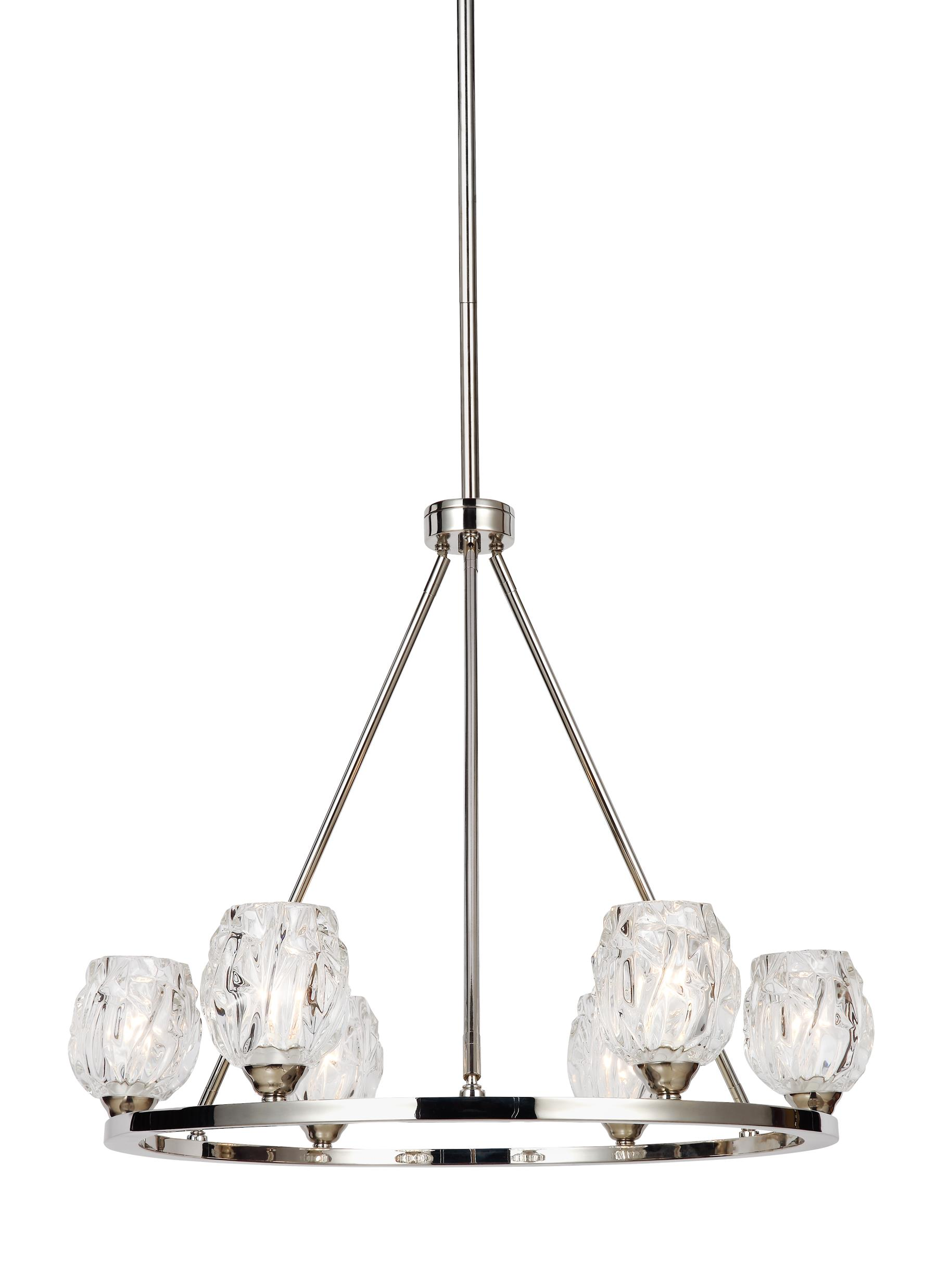 F3126 6PN 6 Light Chandelier Polished Nickel