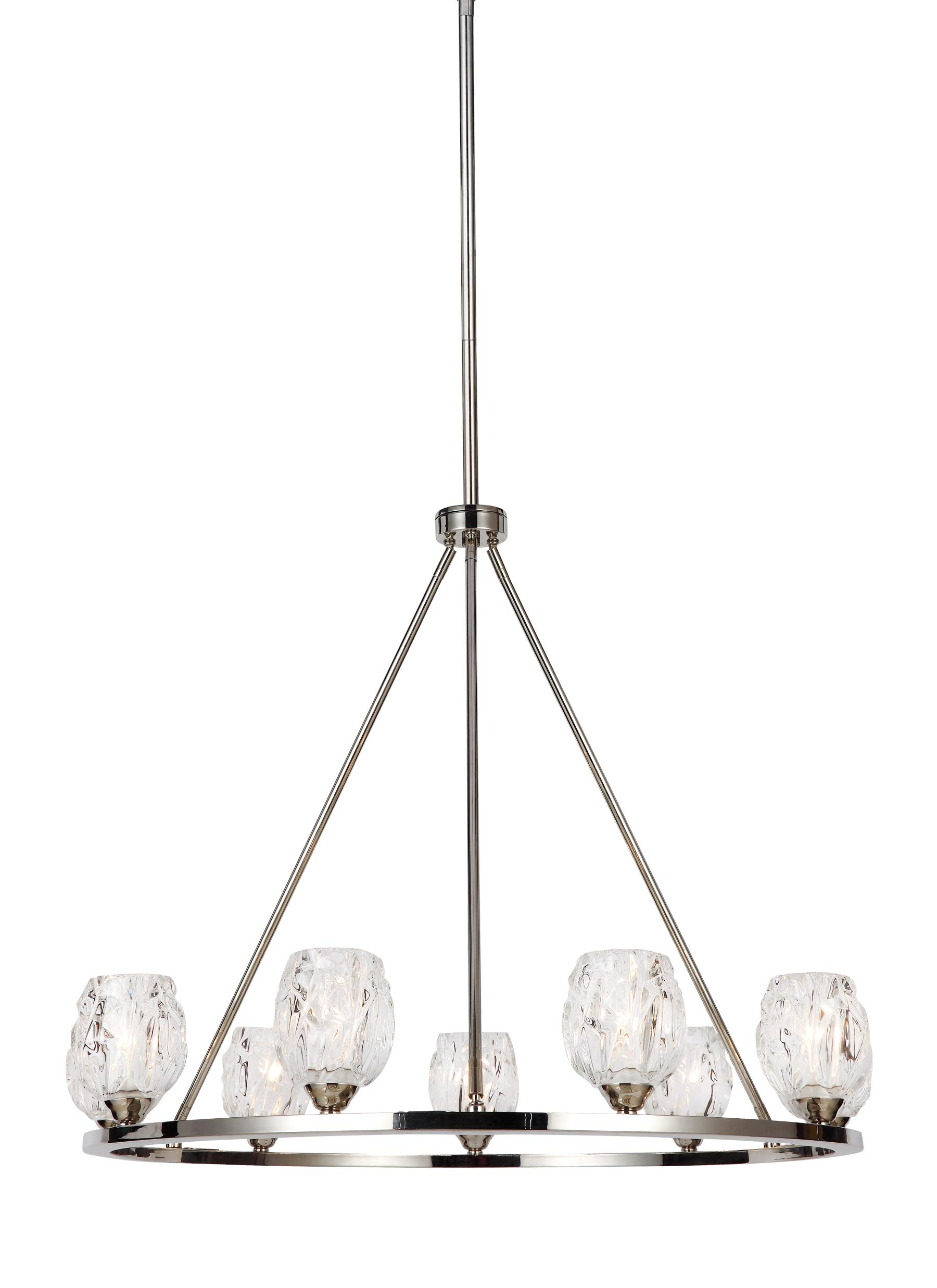 F3128 9PN 9 Light Chandelier Polished Nickel
