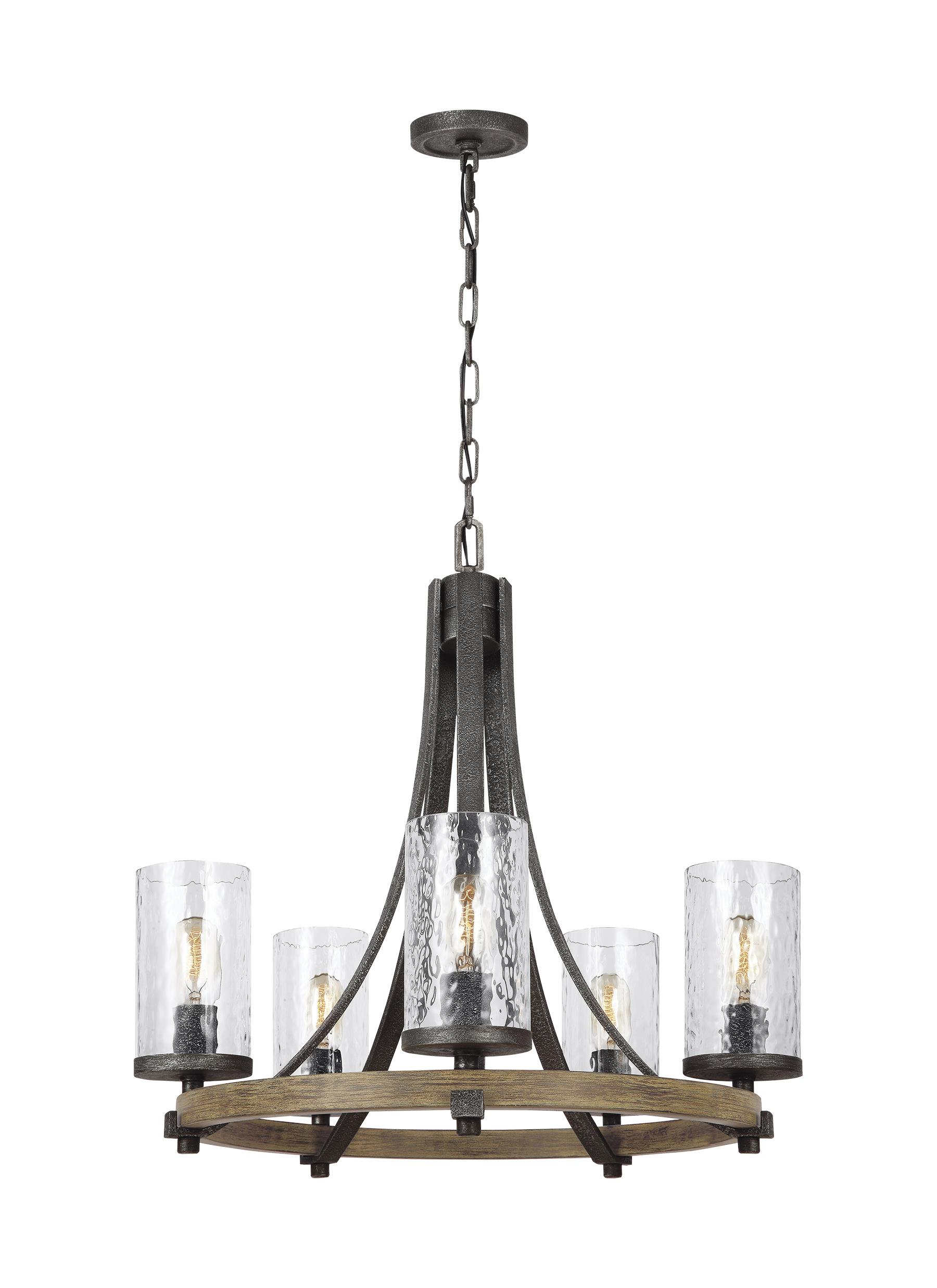 F3133 5DWK SGM 5 Light Chandelier Distressed Weathered Oak