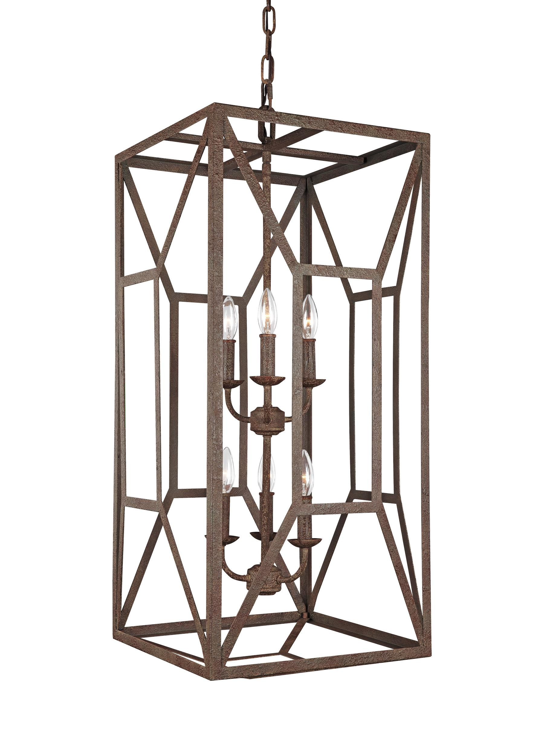 F3174 6WI 6 Light Foyer Chandelier Weathered Iron