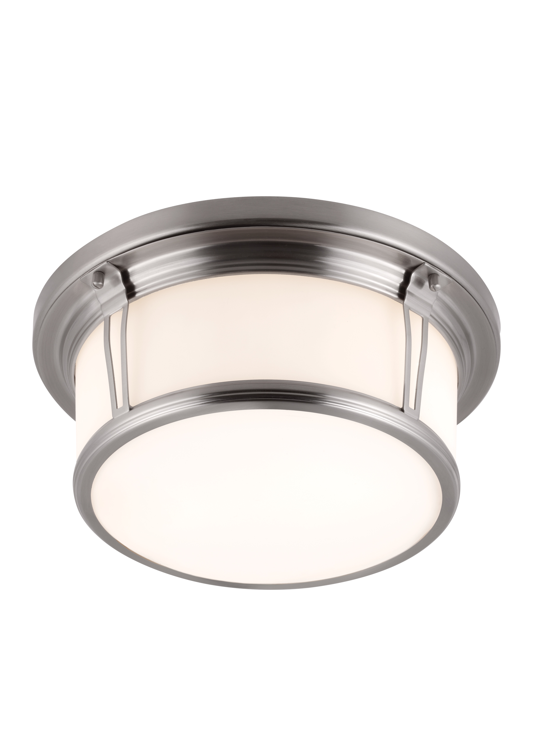 FM388BS 2 Light Woodward Flushmount Brushed Steel