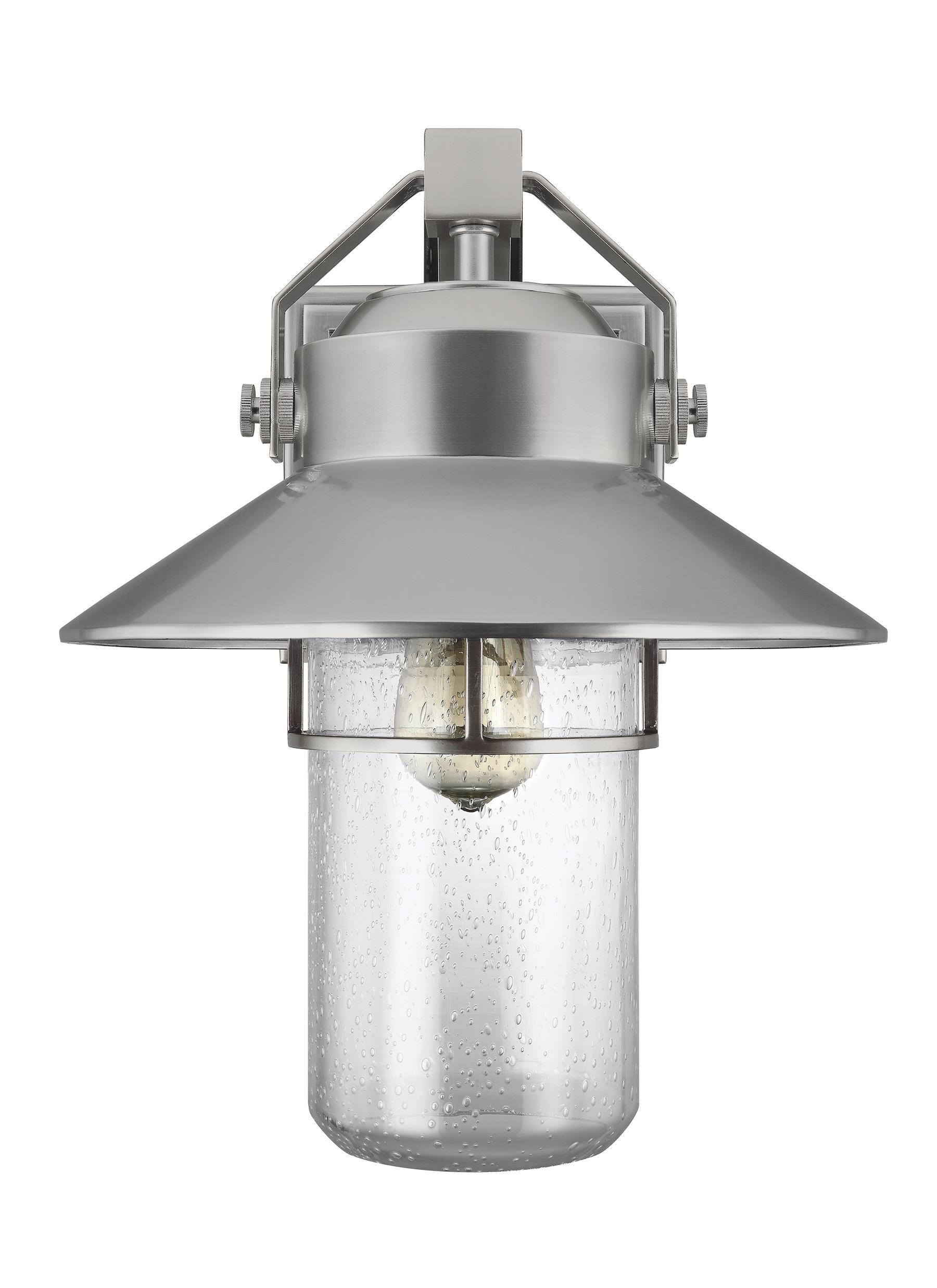 ol13902pbs 1 light outdoor wall lantern painted brushed steel