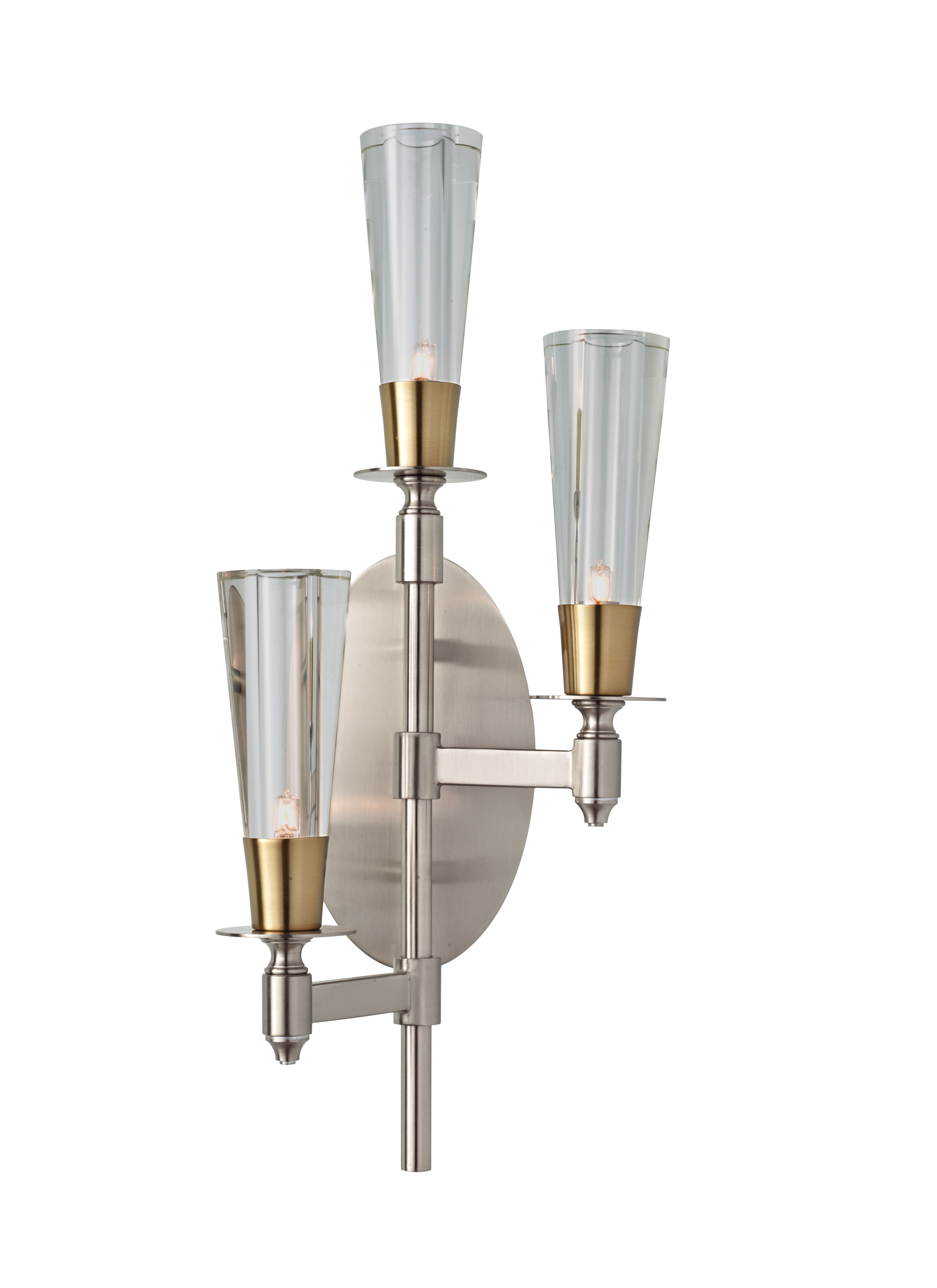 Wb1607bn Nb 3 Light Wall Sconce Brushed Nickel Natural Brass