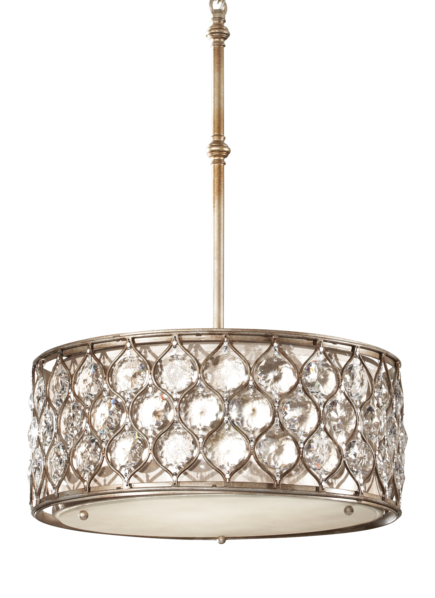 F2568 3bus 3 Light Shade Pendant Burnished Silver