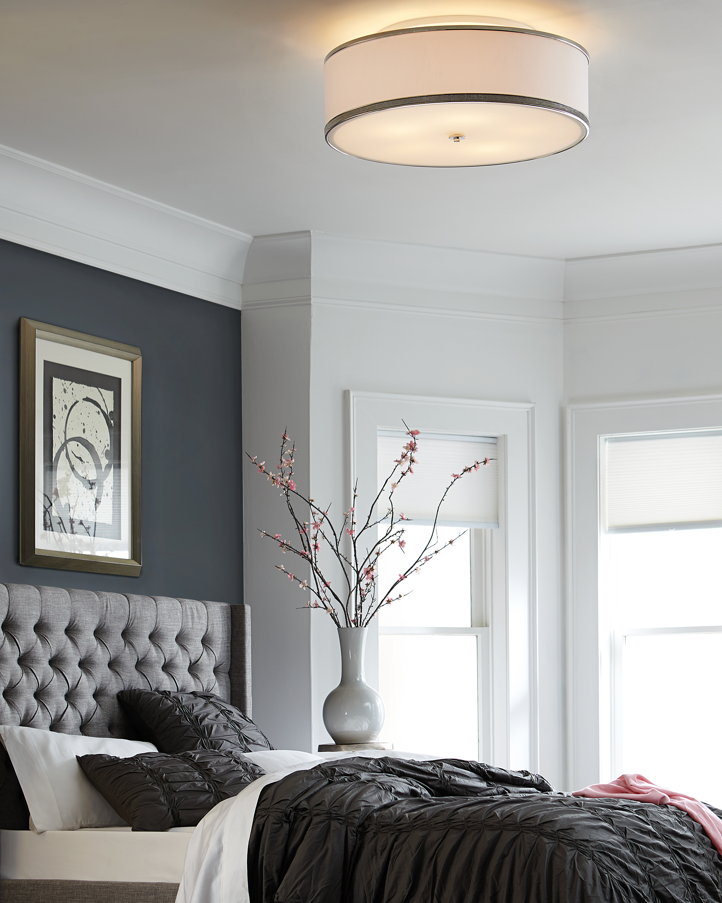feiss pave 30 1 4 quot w polished nickel ceiling light 1t629 15272 | pave semiflush bedroom